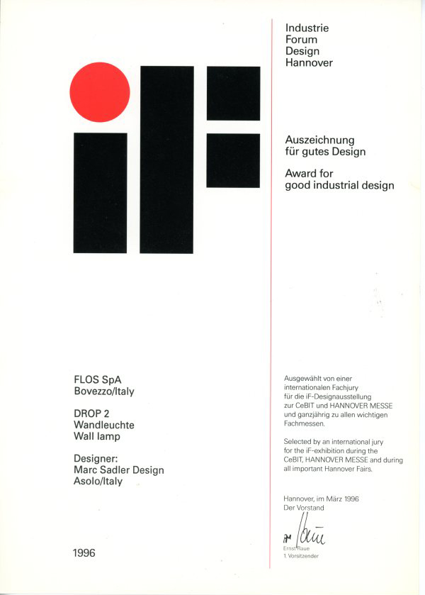 If award for good industrial design a drop 2 1996 marc for Good industrial design
