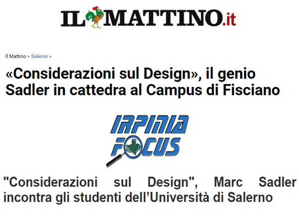 Marc Sadler all'Università di Salerno | 2017